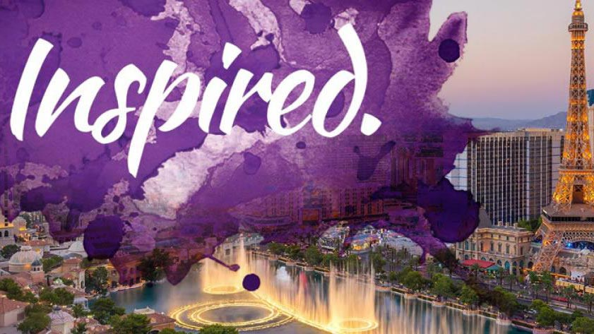 "The word ""Inspired"" over an arial view of the Paris Las Vegas casino"
