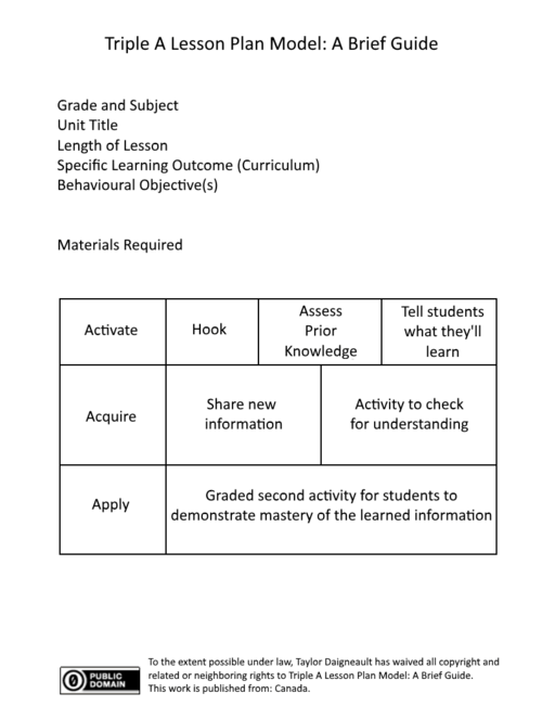 Lesson planning chart