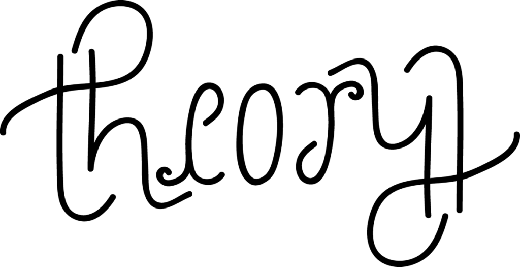 An ambigram of the word Theory.