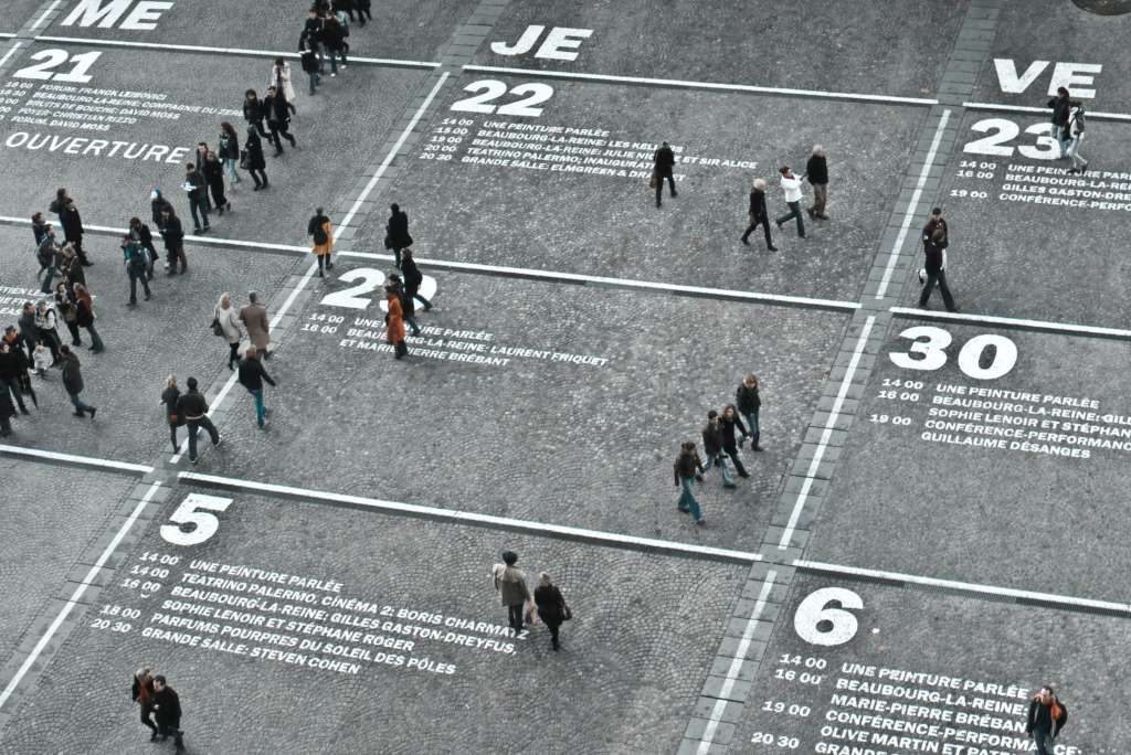 People walking on street calendar