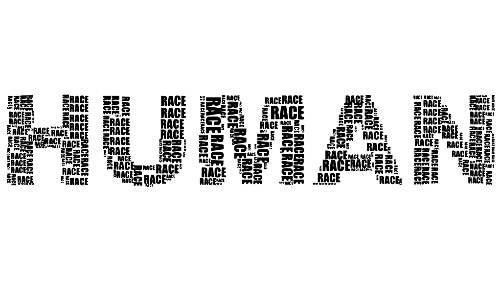 The words Human Race making up the word HUMAN