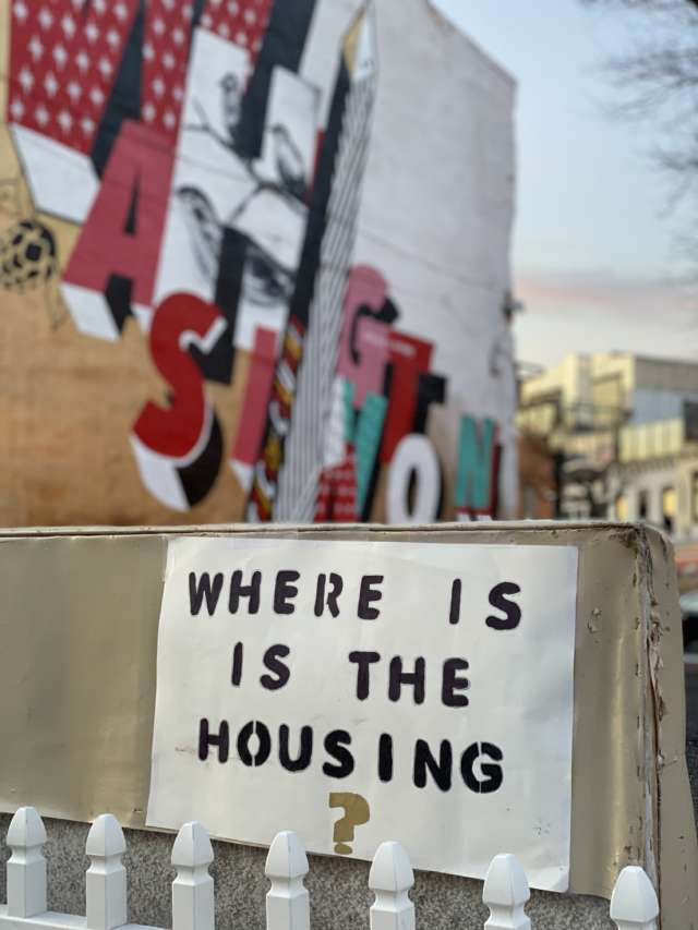 An anonymously posted sign in the Shaw neighborhood of Washington, DC
