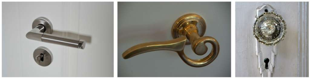 A picture showing three differently styled door knobs
